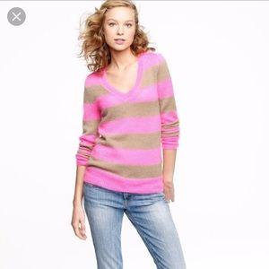 J. Crew Wynter Striped V Neck Sweater Pink Brown S